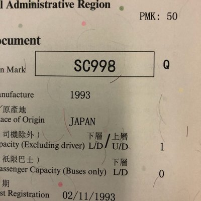 Car Plate Number(車牌)-SC998