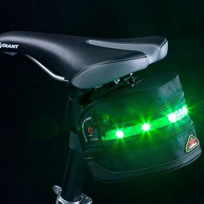 【綠色運動】新款 LED警示燈馬鞍包 發光自行車尾包 防水鞍座包 單車後坐包 配件車管包 工具包  -印