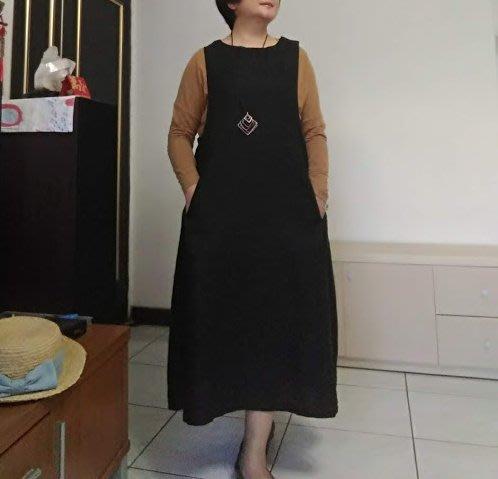 日式原單100%麻質設計款無袖連衣裙(老銀屋)