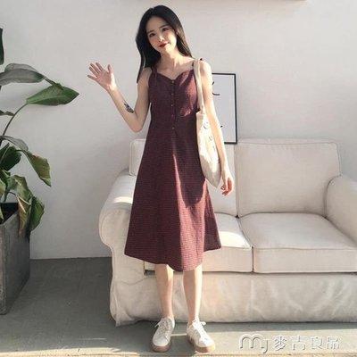 夏季女裝新款氣質復古格子中長裙子學生單排扣吊帶V領打底連身裙