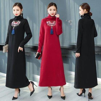 實拍原創民族風 裝新女連身裙復古氣質中長款中國風長袖洋裝