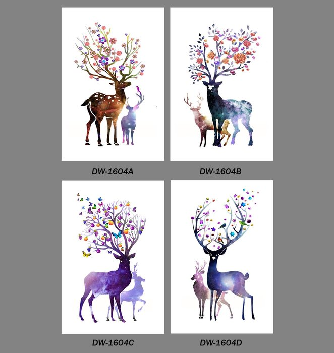 三幅一組油畫布 炫彩麋鹿一家 畫芯/畫布/30X40☺暖暖屋☺傢居藝術館