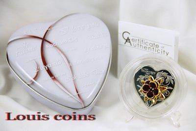【Louis Coins】F053‧Cook Islands‧2019庫克群島‧情人節紀念3D水晶精鑄銀幣