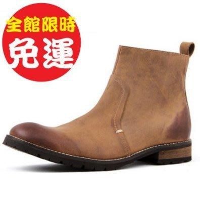 真皮中筒都市復古材質型男機車靴100d118