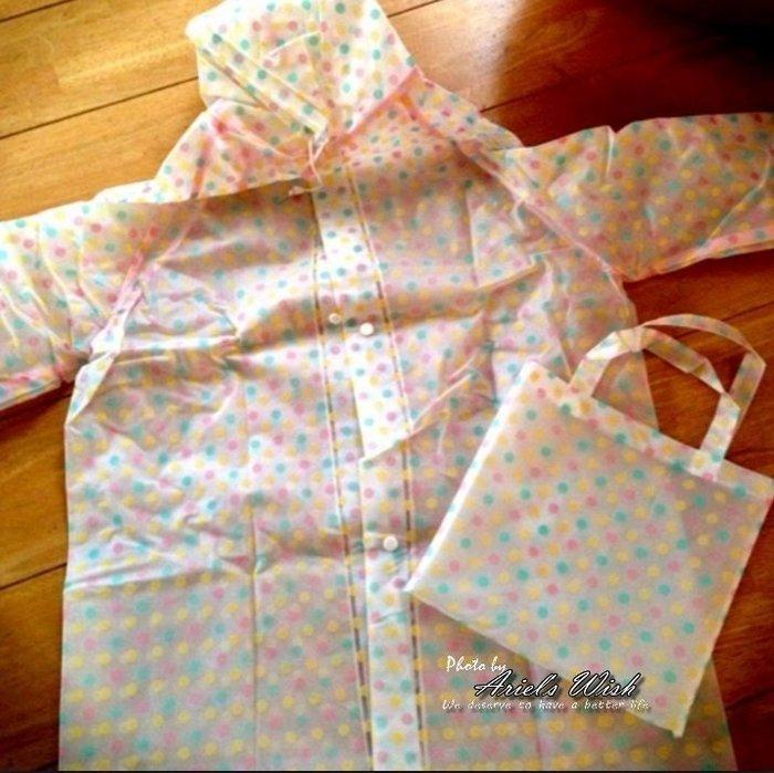 Ariel's Wish日本高雅氣質彩色水玉點點防潑水連帽拉繩鈕扣風衣連身式雨衣外套機車族腳套車必備附同系列收納袋-現貨