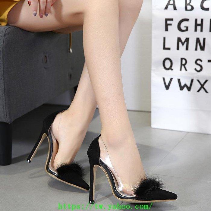 歐美韓版東大門時尚百搭氣質實拍高跟鞋伴娘鞋女鞋上腳超美 透明  真貂毛氣質35-40碼婚宴鞋AN