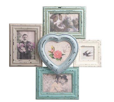 英國Sass&Belle黛麗菈復古典雅愛心五件式組合相框 家飾 法式鄉村刷舊shabby chic 設計 掛飾相片牆