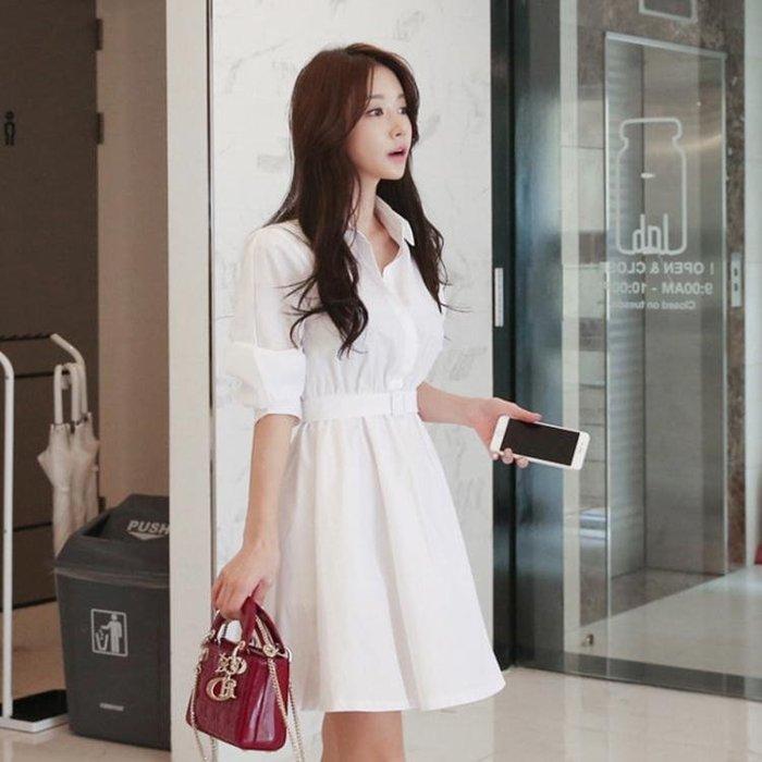 長袖洋裝9981新款韓版女裝POLO領高腰排扣長袖白色短款襯衫連身裙ZL2F-A71-A 【樂購大賣家】