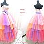 *~時尚屋~*婚紗禮服~橘色露肩彩鑽蕾絲華麗設計師造型款《二手禮服》~W637(歡迎預約試穿)