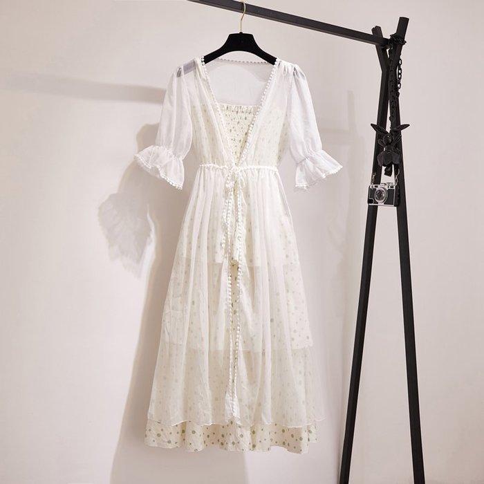 夏季新款超仙森系甜美吊帶連衣裙仙女雪紡防曬開衫裙子兩件套 背心裙 吊帶裙 仙女裙 連衣裙 韓版