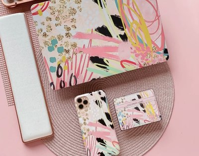[SECOND LOOK]英國品牌 Coconut Lane 粉色抽象畫 車票卡夾 悠遊卡夾