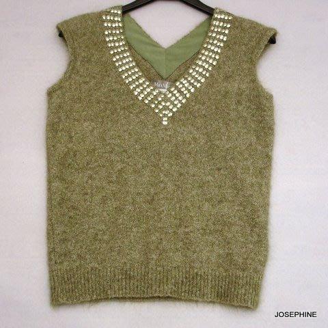 喬瑟芬【MAXMARA】綠色V領亮片羊毛背心~全新真品!清倉特價!