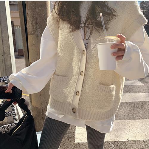 i-Mini 正韓|氣質壓邊無袖羊毛背心外套|2色‧ 韓國連線‧代購‧空運【B12248060mb】
