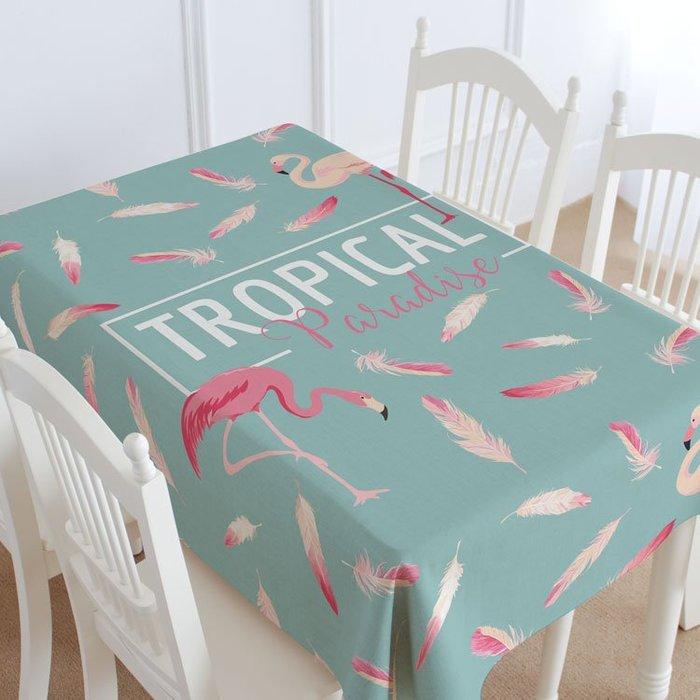 美式桌布 創意簡約火鶴鳥 方巾 餐桌 TROPICAL 小清新 野餐墊 咖啡廳 餐廳 可訂做 環保棉麻│悠飾生活│