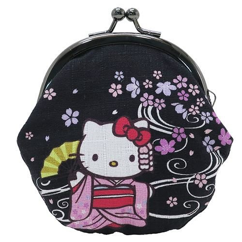 Hello Kitty 雙珠扣式零錢包 日本製 兩色可選 KT 和風 寺子屋 小日尼三 批發零售 41+ 日本代購