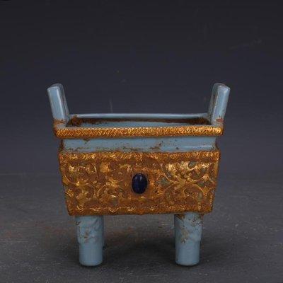 【三顧茅廬】宋代汝窯包金鑲寶石四方鼎香爐 文物古瓷器古玩古董收藏擺件