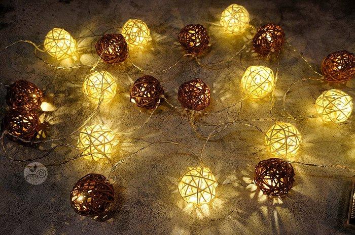 裝飾燈串_米咖藤球20顆(電池)4米_B107-002◎串燈.燈具.藤球.米色.咖色.裝飾燈.布置.裝飾