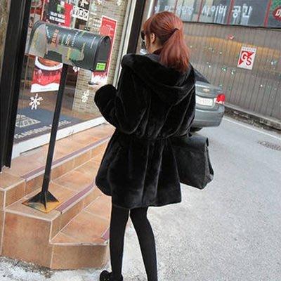 2018新款韓版仿水貂絨皮草大衣秋冬中長款海寧連帽加厚毛毛外套女