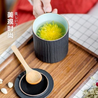 馬克杯 木紋馬克杯陶瓷帶蓋過濾茶杯