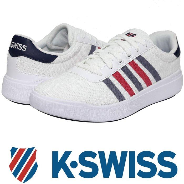 鞋大王K-SWISS 05915-130 白×藍×紅 針織材質休閒運動鞋(有12號、13號)【免運費,加贈襪子】722K
