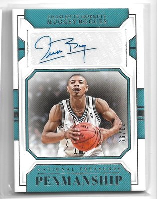 18-19 National Treasures Muggsy Bogues 簽名 限量99 黃蜂