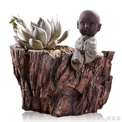 居家家 多肉花盆樹脂木頭綠植物簡約 小花盆辦公室盆栽