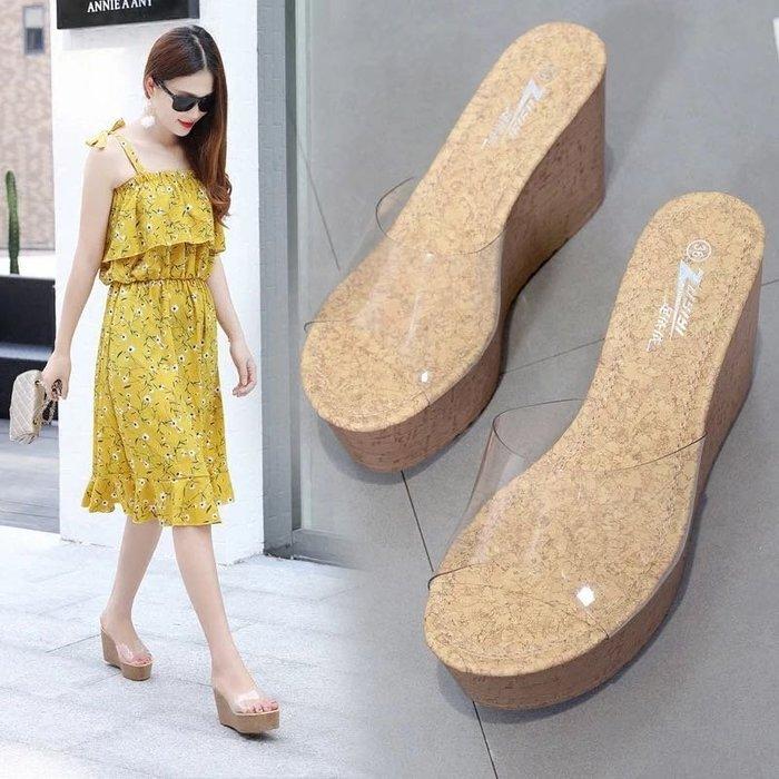 韓版透明鬆糕厚底鞋拖鞋坡跟拖鞋涼鞋
