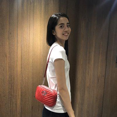 美國百分百【全新真品】Calvin Klein 包包 CK 小包 晚宴包 女包 山形紋 logo 紅色 K294