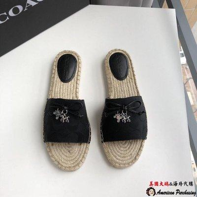 美國大媽代購 COACH 寇馳 C字紋黑色休閒鞋 女鞋 平底鞋 原裝正品 美國代購