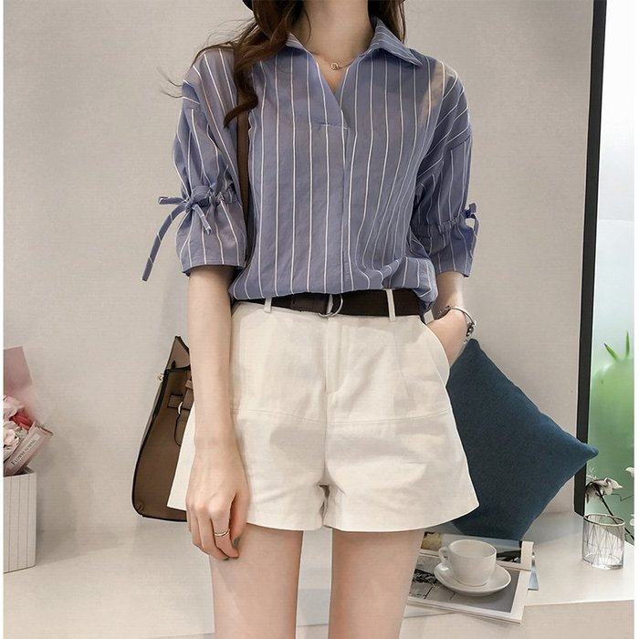 ❤Princess x Shop❤女裝新款短袖條紋寬鬆休閒襯衫上衣DT806037正韓洋裝一字領露肩性感