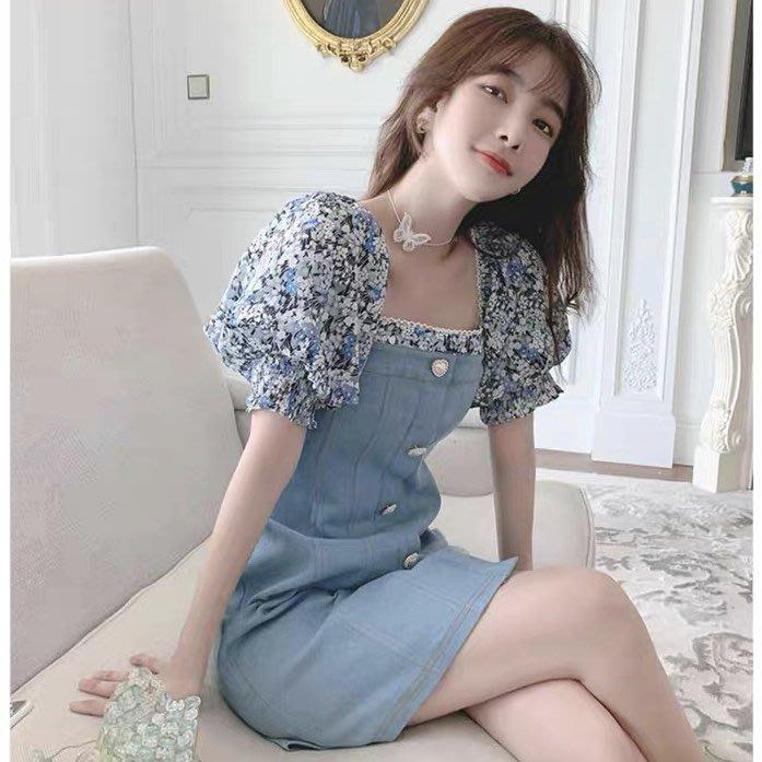 *Angel  Dance*短袖牛仔洋裝(淺藍色)@韓國 方領 燈籠袖 假兩件 碎花 蕾絲 拼接 修身@現貨