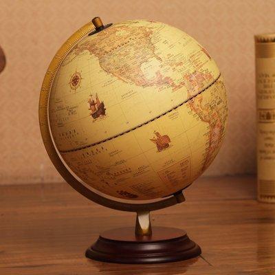 地球儀25cm美式復古仿古地球儀 32cm大號書房辦公桌面裝飾擺件禮品哆啦A珍