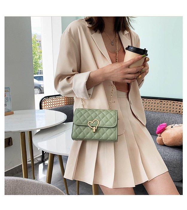 FINDSENSE X 韓國 女士 時尚菱格 桃心鎖 多功能斜挎包 側背包 單肩包 小方包 菱格包