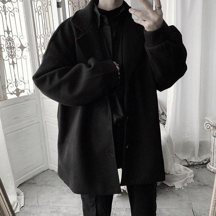 【NoComment】休閒質感簡約毛尼材質的中長板黑外套 ZARA Uniqlo