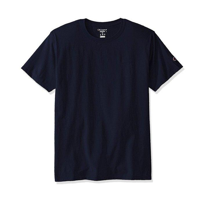 美國百分百【Champion】冠軍 T恤 短袖 T-shirt logo 素T 厚棉 深藍 S M L XL號 I203