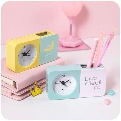鬧鐘簡約創意小迷你床頭學生宿舍電子時鐘韓版藝術多功能可愛筆筒