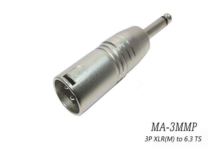 【六絃樂器】全新 Stander MA-3MMP 轉接頭 / XLR公頭 轉 6.3 PHONEJACK TS公頭