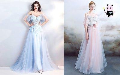 仙子水彩藍刺繡水晶珠花季休閒連身裙新娘伴娘服謝師宴宴會晚禮服長裙