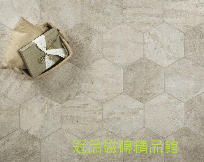 ◎冠品磁磚精品館◎義大利進口精品 梵蒂岡六角復古磚-暖灰- 40X34.5CM