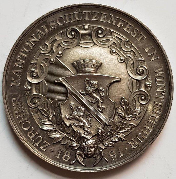 瑞士銀章 1891 Swiss Zürcher Kantonales in Winterthur Medal