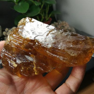[友克鑫礦業]44約重377.5g琥珀色黃方解石Calcite蜜糖色霰石Aragoni原礦 晶簇 晶塊 晶柱 水晶柱 水