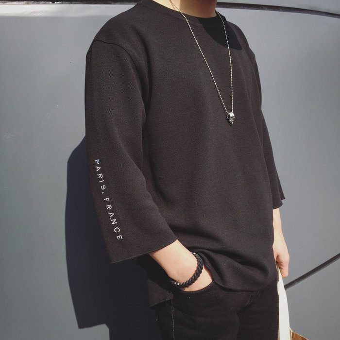 日系 個性 歐美 韓版 潮 流行 潮男 7七分袖夏季打底衫T恤男士寬松學生短袖韓版個性潮流半袖中袖上衣