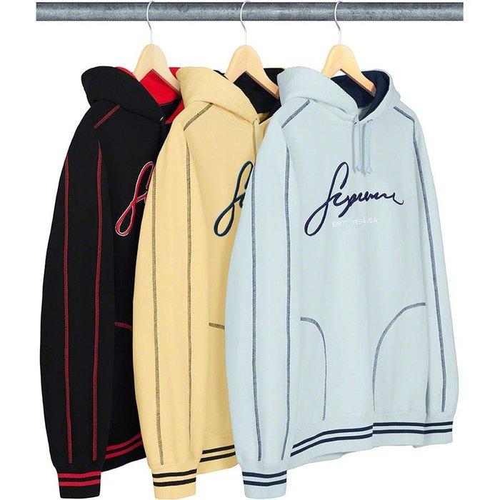 【美國鞋校】預購 Supreme SS19 Contrast Embroidered Hooded 帽T
