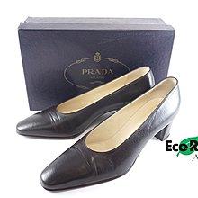 [Eco Ring HK]*Prada Heels Size 38.5 Brown Leather*Rank B-207002934-