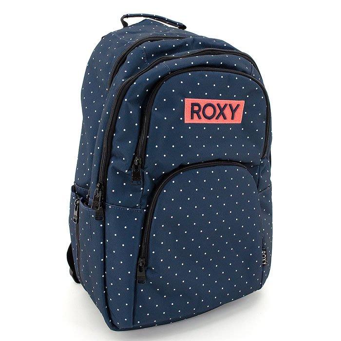 日本購回 ROXY 時尚超大容量後背包白玉點點普普風/媽媽包/登山包-現貨 深藍色