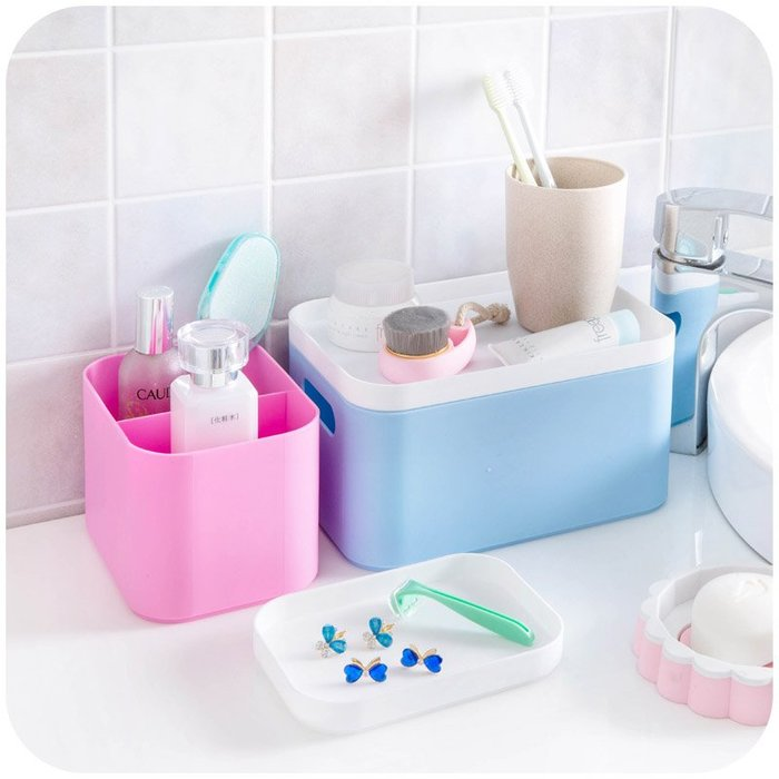 【可可里百貨】桌面塑料雜物收納盒化妝品盒子 護膚品遙控器整理盒儲物盒【買一送一】