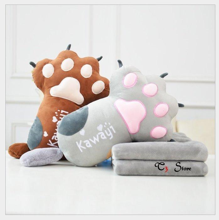 【T3】貓爪抱枕+空調毯2合一 💖💖長形圓形 交換禮物 貓咪午睡枕 貓掌【HL26】