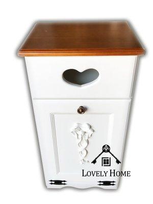 (台中 可愛小舖)歐式古典鄉村風全實木立體浮雕面紙盒垃圾箱置物箱垃圾桶入厝居家布置收納櫃可訂做百合白象牙白