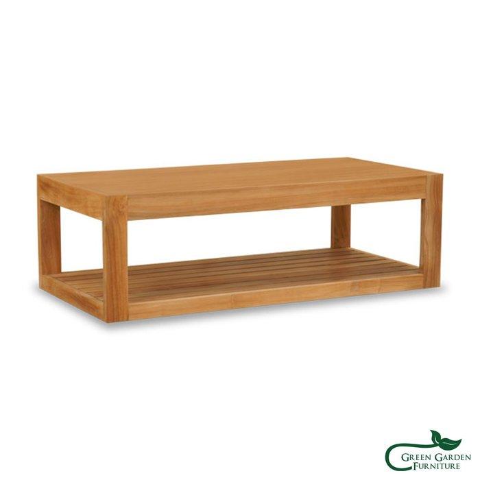 墨西哥 柚木雙層咖啡桌(120上平下條/原色)【大綠地家具】100%印尼柚木實木/無上漆原木款/實木茶几/咖啡桌
