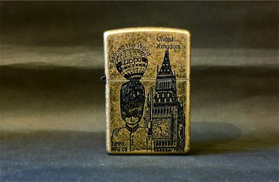 ONE*$1~*日系*ZIPPO*1994 環遊世界系列~United Kingdom《英國*珍藏版》黃銅仿舊*蝕刻